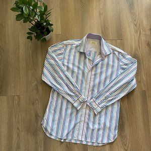 Ted Baker White Striped Button-Down Dress Shirt